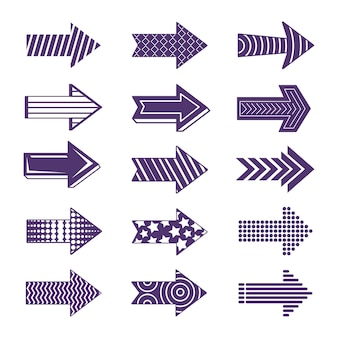 Colección flecha morada de diseño plano