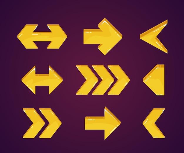 Colección de flechas amarillas modernas