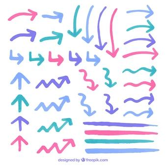 Colección de flechas de colores de acuarela