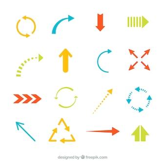 Colección de flechas de colores