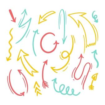 Colección flechas coloridas dibujadas a mano