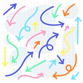 Colección de flechas coloridas dibujadas a mano