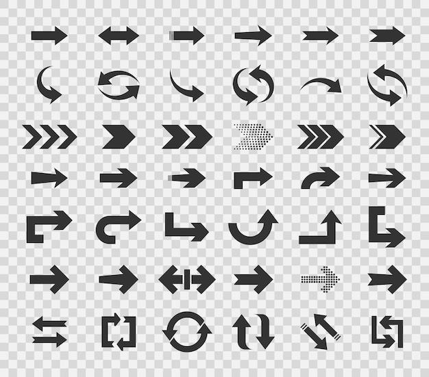 Colección de flechas conceptuales para la interfaz de aplicaciones móviles de diseño web y más