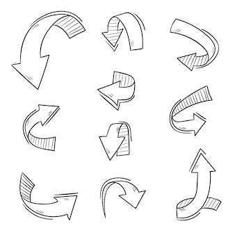 Colección de flechas dibujadas a mano realista