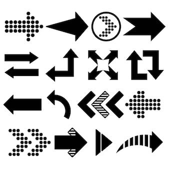 Colección de flechas dibujadas a mano, con varias direcciones. garabatear.
