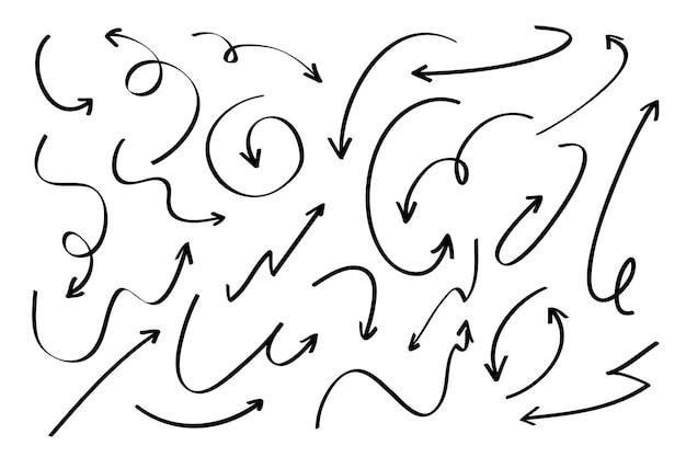 Colección flechas dibujadas a mano vector gratuito