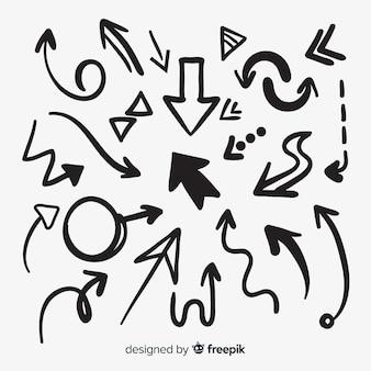 Colección de flechas dibujados a mano