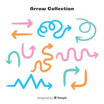 Colección de flechas en diferentes colores