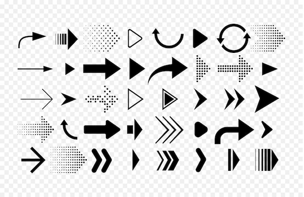Colección de flechas de diferentes formas. conjunto de iconos de flechas aislado sobre fondo blanco.