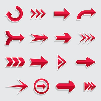 Colección de flechas de diseño plano