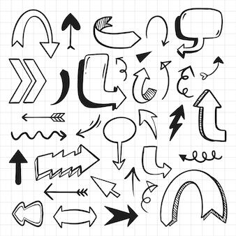 Colección de flechas de estilo de dibujos animados