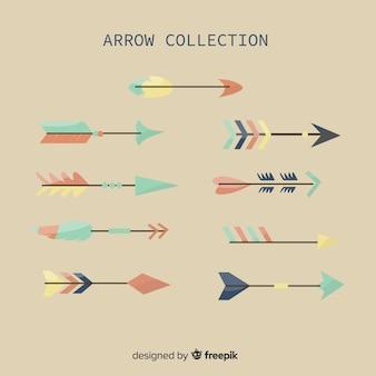 Colección de flechas en estilo plano