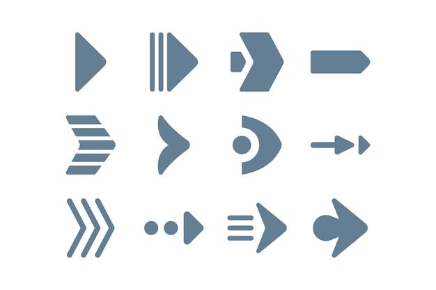 Colección de flechas de estilo plano