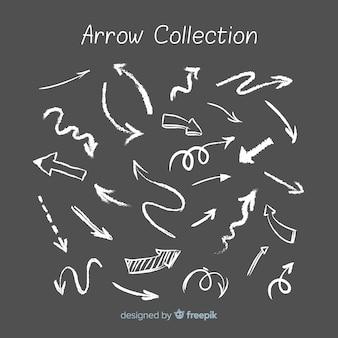 Colección de flechas en estilo de tiza