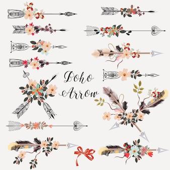 Colección de flechas con flores