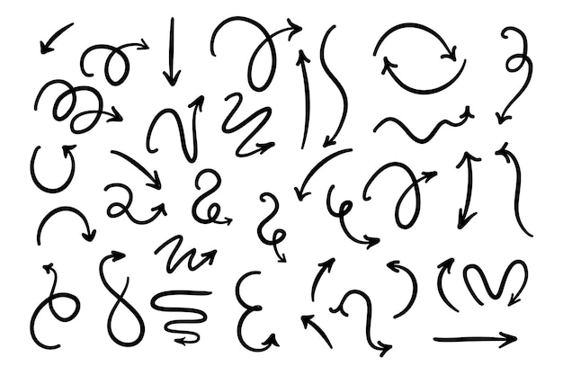 Colección flechas monocromáticas dibujadas a mano