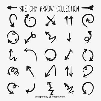 Colección de flechas negras dibujadas a mano