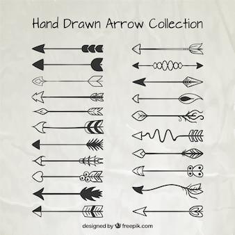 Colección de flechas ornamentales dibujadas a mano