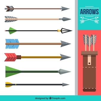 Colección de flechas planas