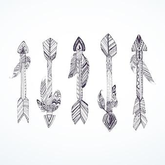 Colección de flechas con plumas