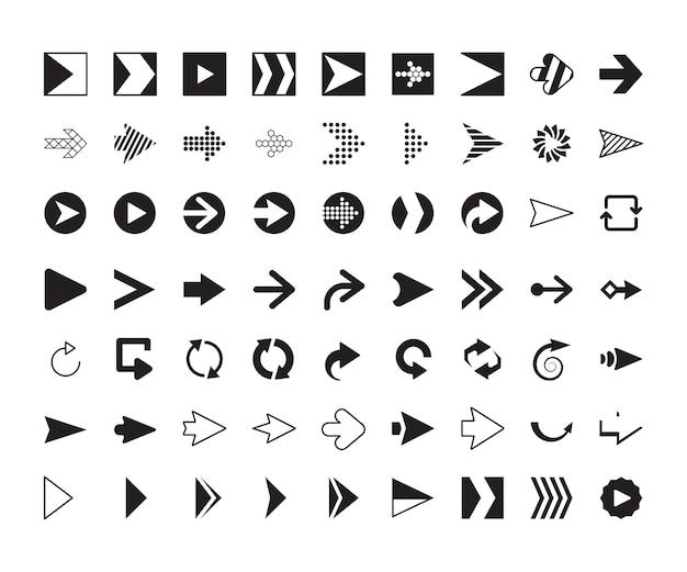 Colección de flechas. señales de dirección gráfica moderna pantalla de computadora curvas flechas conjunto de vectores. flecha de dirección de la ilustración, orientación de la interfaz