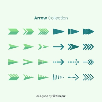 Colección de flechas verdes