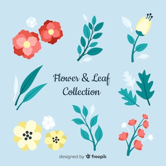 Colección floral dibujada a mano