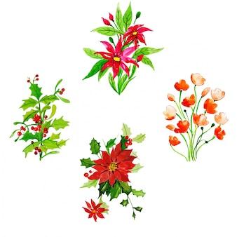 Colección floral de feliz navidad