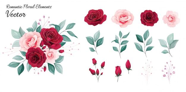 Colección floral ilustración de decoración de flores de flores rosas rojas y duraznos, hojas, ramas
