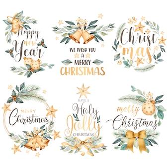 Colección floral de insignias navideñas en estilo acuarela