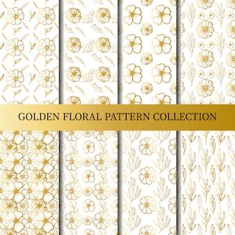 Colección floral de oro de patrones sin fisuras