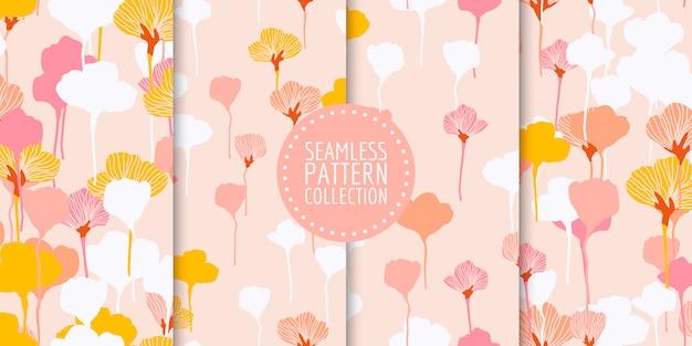 Colección floral de patrones sin fisuras