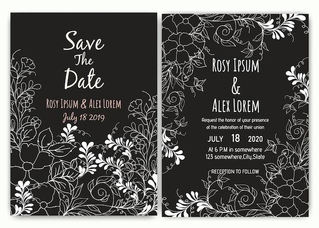 Colección floral de la plantilla de la tarjeta de la invitación de la boda.