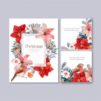 Colección floral de tarjetas de navidad