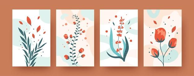 Colección floral de verano de carteles de arte contemporáneo. ilustraciones modernas de flores y hojas.