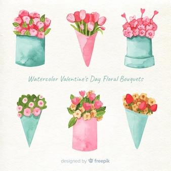Colección de flores acuarela para san valentin