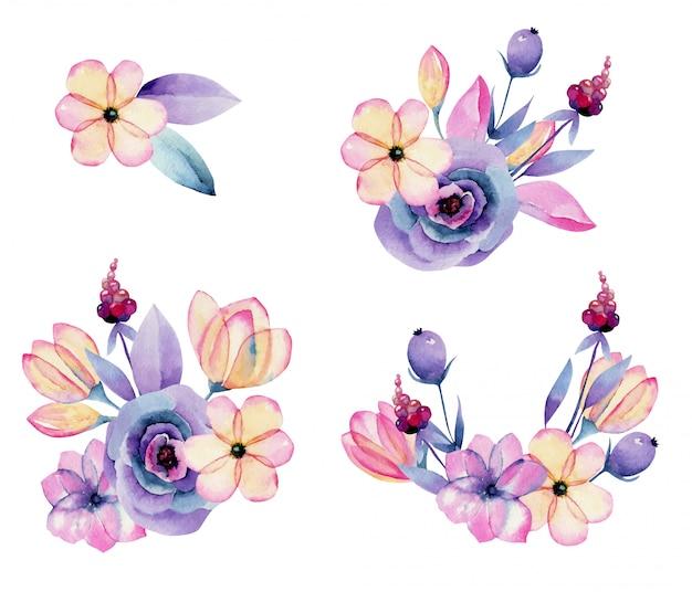 Colección de flores aisladas de flor de manzana acuarela