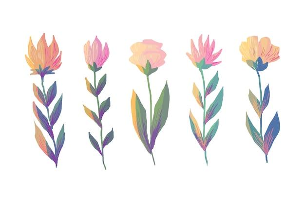 Colección de flores coloridas de primavera acuarela