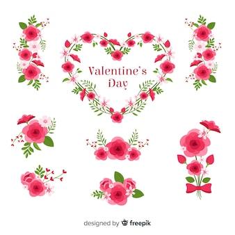 Colección flores día de san valentín