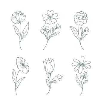 Colección flores dibujadas a mano con hojas