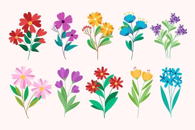 Colección de flores de diseño plano