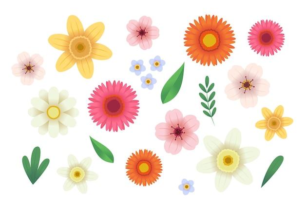 Colección de flores. en estilo plano