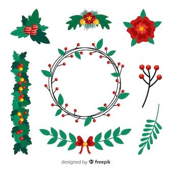 Colección de flores y guirnaldas de navidad dibujadas a mano