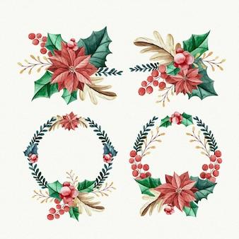Colección de flores y guirnaldas navideñas de acuarela