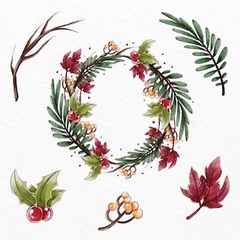 Colección de flores y guirnaldas navideñas en acuarela