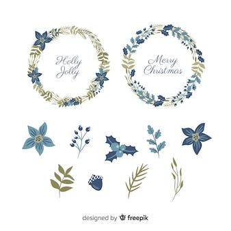 Colección de flores y guirnaldas navideñas dibujadas a mano