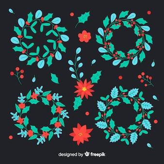 Colección de flores y guirnaldas navideñas en diseño plano