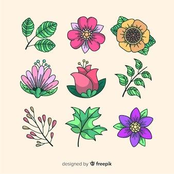 Colección de flores y hojas de fondo