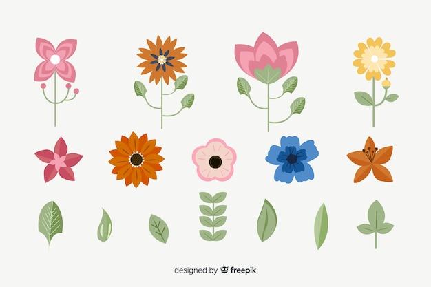 Colección flores y hojas planas
