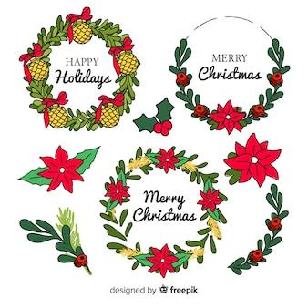 Colección de flores de navidad dibujadas a mano